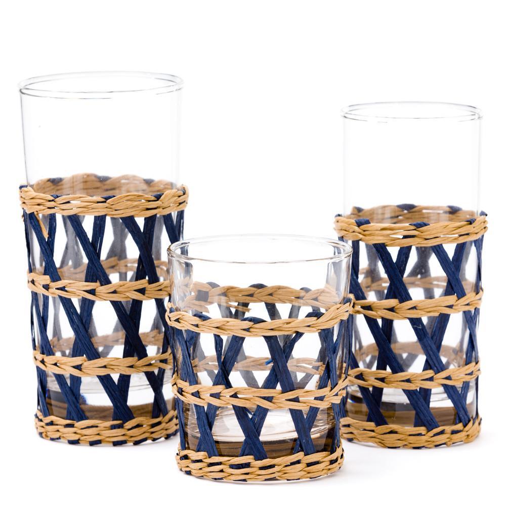 Amanda Lindroth Blue Island Wrapped Raffia Glassware