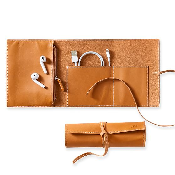 Mark & Graham Baseball Leather Charger Roll Up