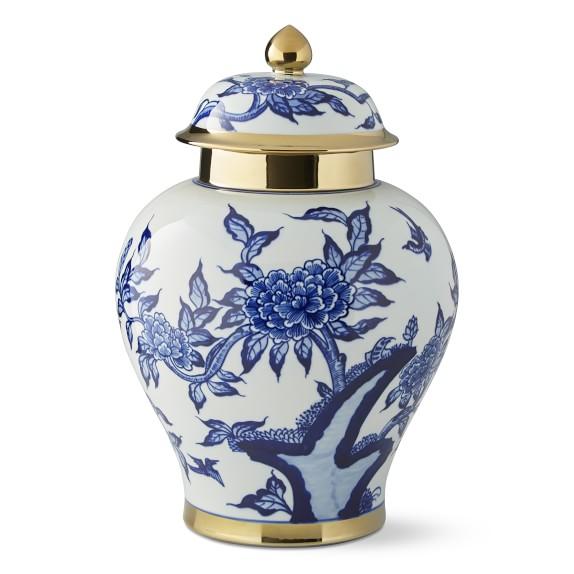 William Sonoma Peony & Hummingbird Ceramic Lidded Ginger Jar