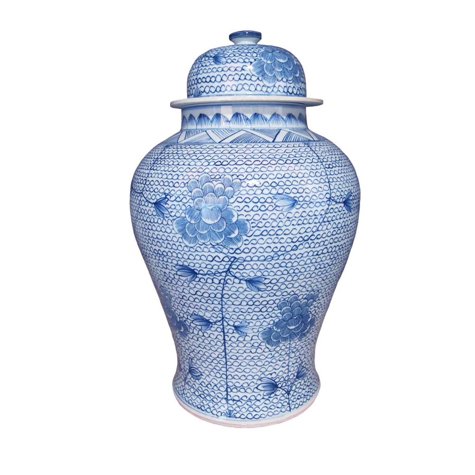 Blue and White Handmade Porcelain Ginger Jar - Chain Link Lotus Blossom