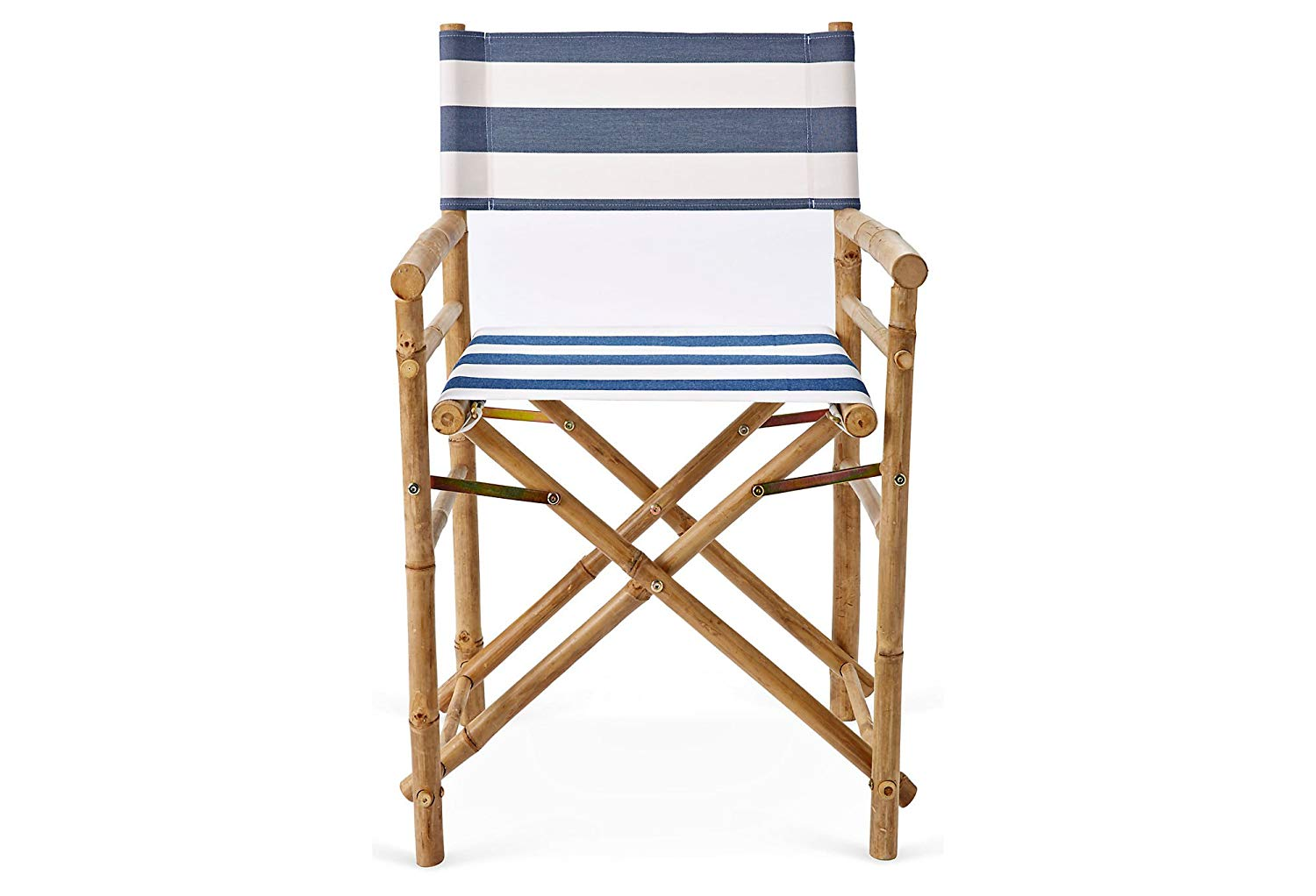 Set of 2 Zew Hand Crafted Navy/White Foldable Bamboo Director's Chair with Striped Canvas