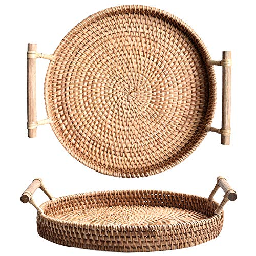 iHogar Hand-woven Round Rattan Serving Tray with Handles Bread Cake Pastries Basket