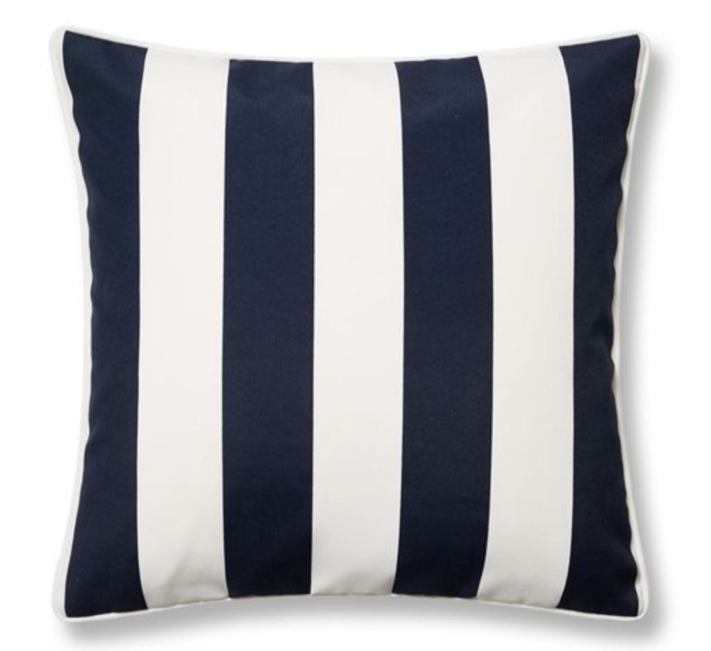 Cabana Stripe 20x20 Outdoor Pillow, Navy