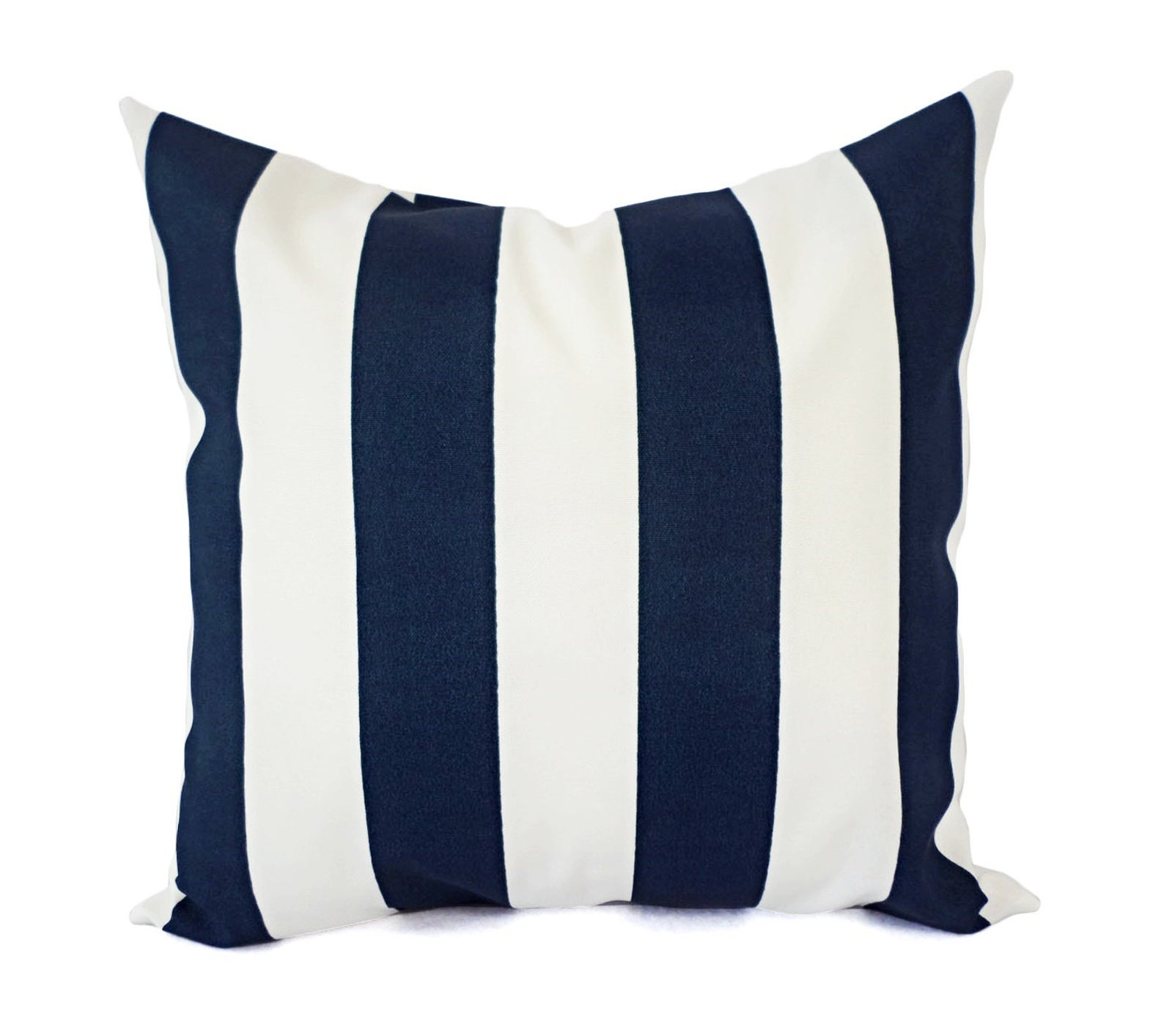 Two OUTDOOR Navy & White Pillow Covers
