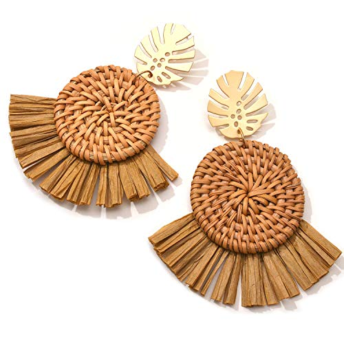 Rattan Palm Leaf Earrings