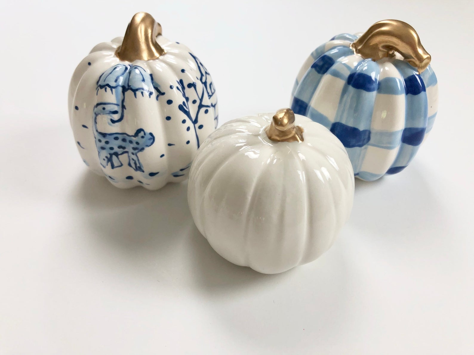 Blue and White mini pumpkin set