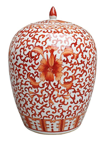 Asian Traditional Chinese Coral Red Twisted Lotus Ginger Jar
