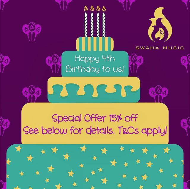 It's our 4th Birthday!  As part of our celebrations we are giving everyone a chance to get 15% off their event booking!  Send us your Name & Email in a direct message and we will email you your voucher, yes it's that simple!  Thank you to all of our family & friends and especially our amazing customers for your continued support :) 💜  Design Credit: @tribalape  Also a big thank you to the Swaha Team for their hard work in our last year of growth!  @dj.prash @djharrylotay @rotz87 @ajchudasama @kamloidj @karanlotay @nayan_halai @officialdjmist @hem89lad @s_sidhpura @djshotz_ @parit95 @milzy92 @arpspatel85  #happybirthday #birthday #wedding #event #party #celebration #offer #discount #promotion #support #event #thankyou #4today #swahamusic #webookedswaha #ibookedswaha