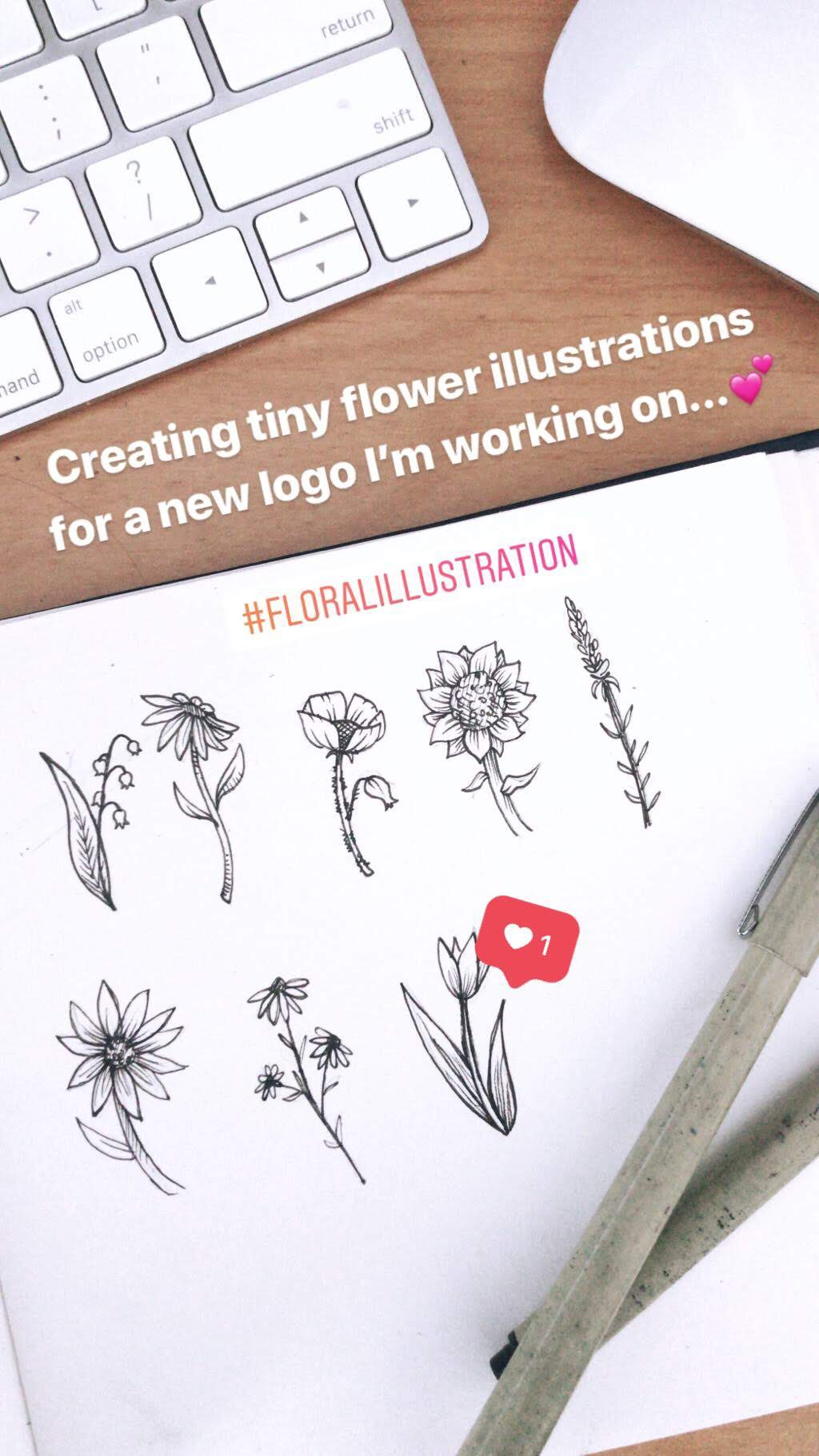 One of my most popular Instagram stories to date, this photo of my flower sketches garnered hundreds of views and tons of interest in my work.