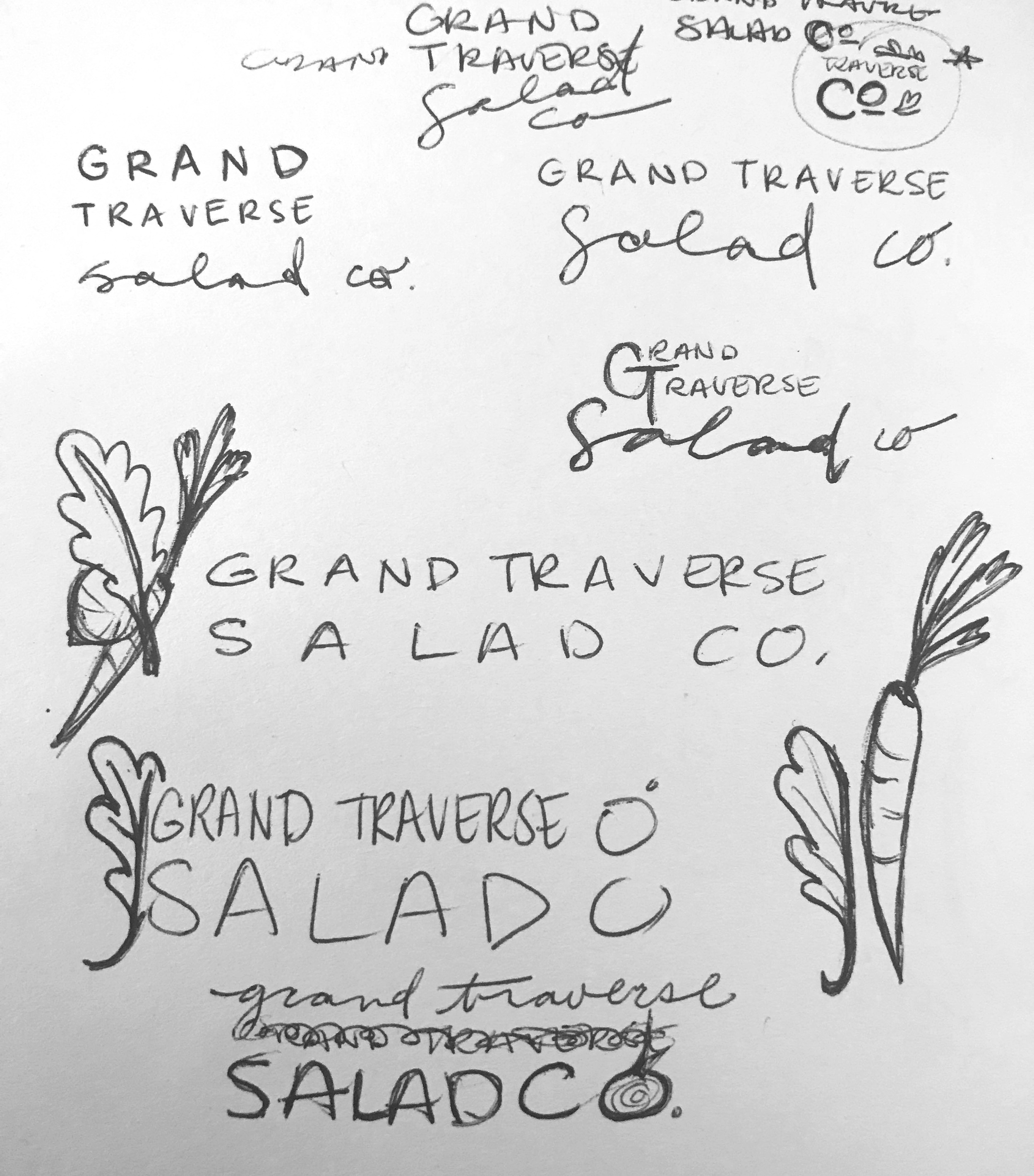 My original logo idea sketches. Apparently, I was quite stuck on those carrots.