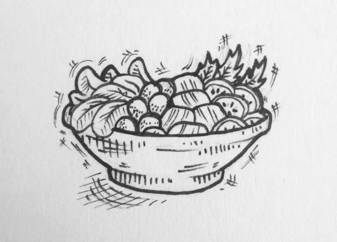 A hand-drawn salad bowl, featuring grape tomatoes, sliced cucumbers, spinach, kale, and…either beets or salmon, depending on your diet.