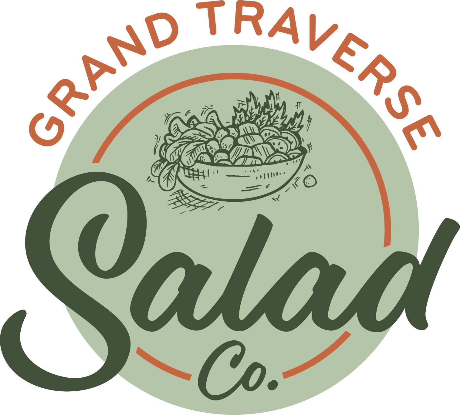 The final Grand Traverse Salad Co. logo translates easily to signage, menus, and marketing materials.
