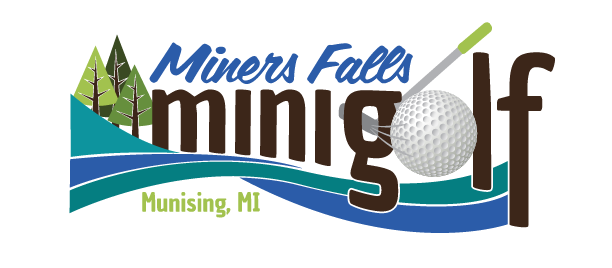 Located on the highway leading into Munising, MI, the Miners Falls Mini Golf logo needed to be easy to read from a distance and at a high speed. It features natural elements and a color palette found at the course.