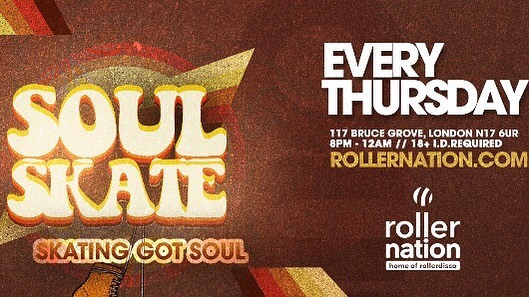 Soul Skate every Thursday! Skating got soul, come and move to the groove, doors open at 8pm. Don't forget to bring student I.D or proof of Haringey residence for your door concession!