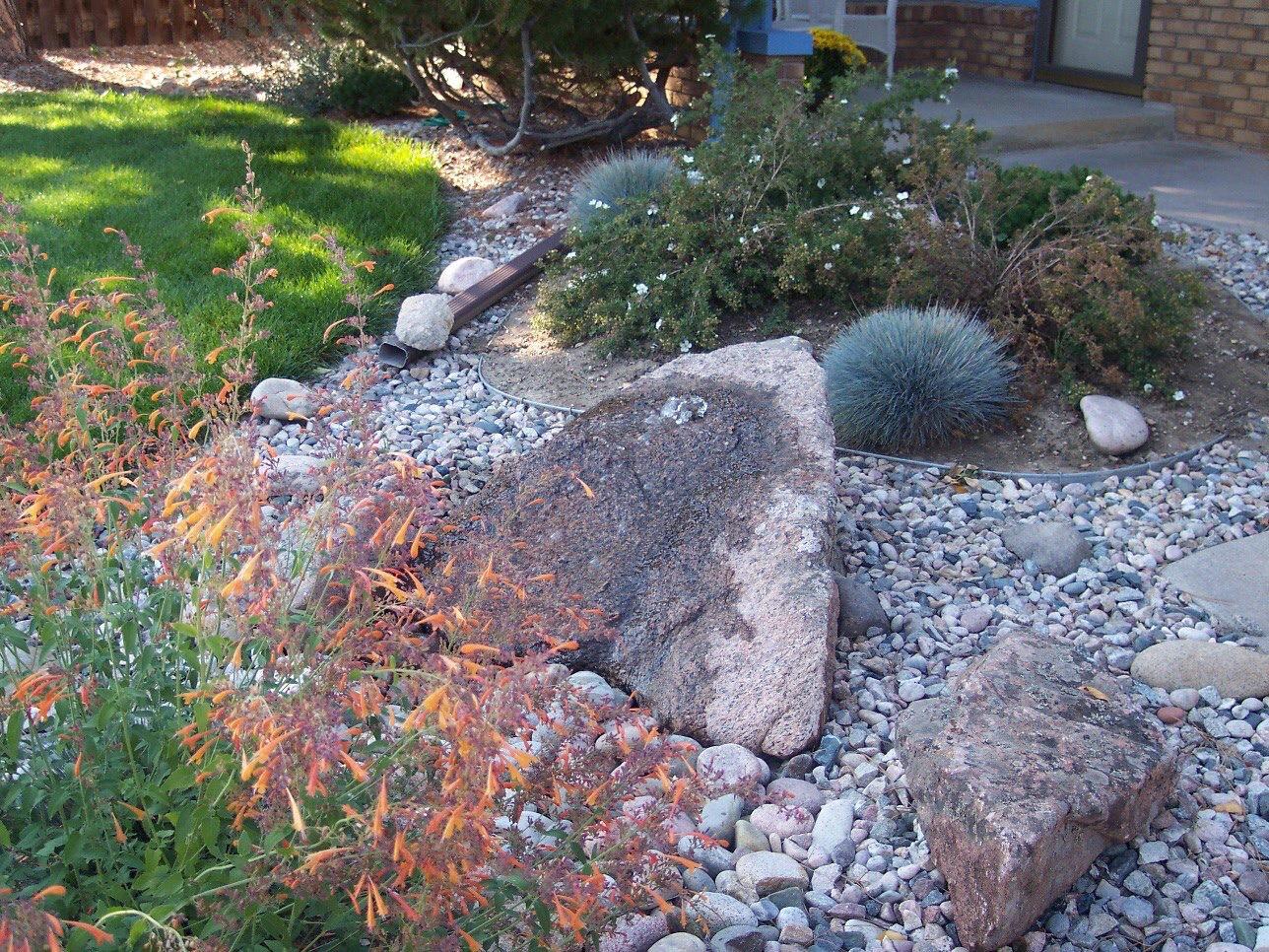 Pond-less bubbling rock feature.