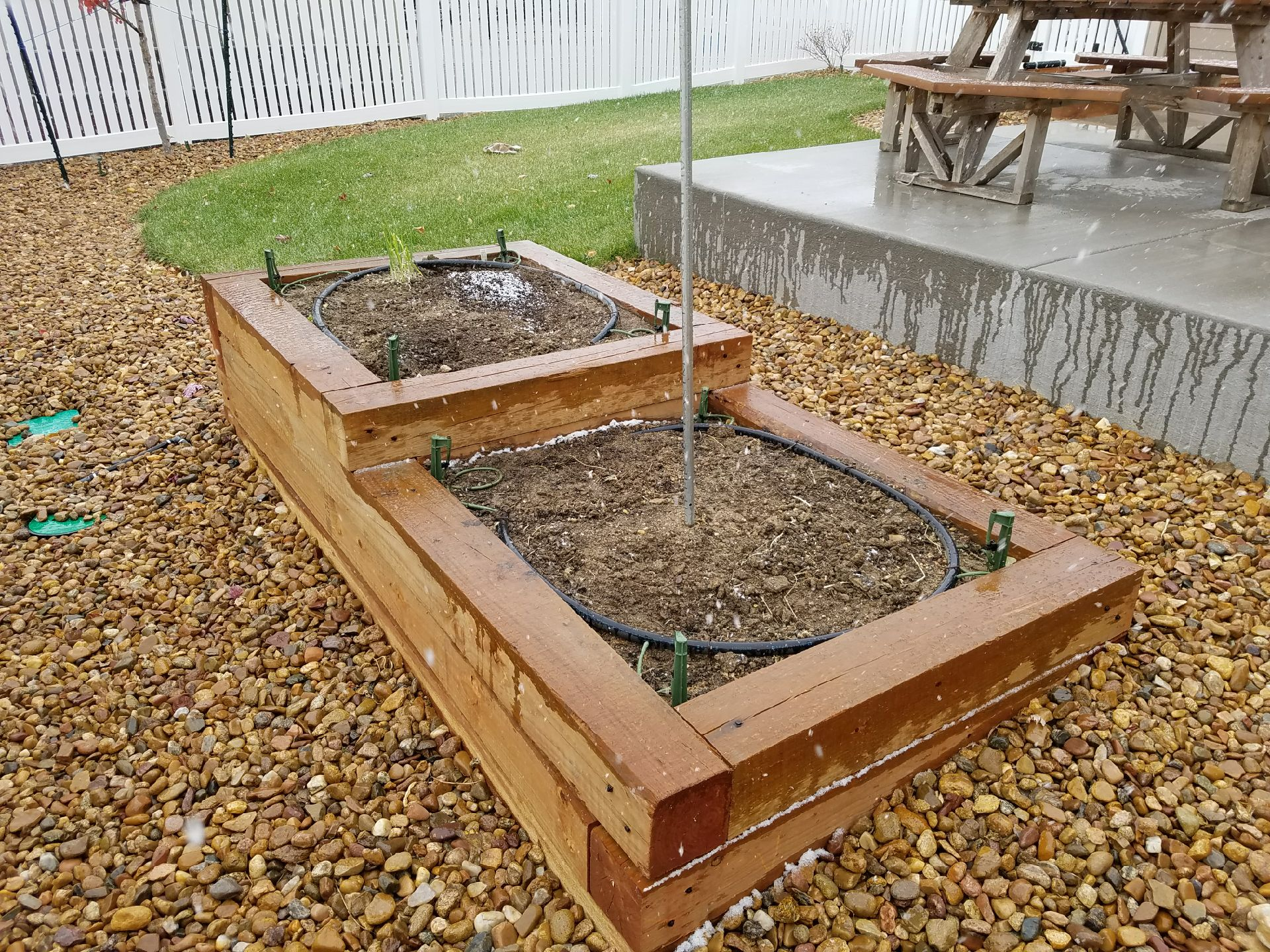 6x6 timber two tier planter bed with drip stubs.