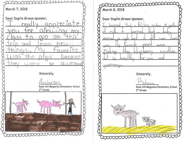 We helped sponsor the Duplin Grows event, and we got the sweetest thank you notes from some of the students who attended. We love seeing youth learn about agriculture! #thankyounotes #ncfarmfamilies #ncag #duplincounty