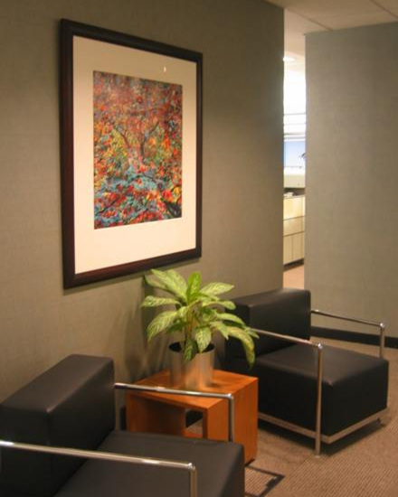 FTI CONSULTING - In what was a drably colored corporate reception area, we installed a brightly colored wide format Cibachrome fine art photograph that worked well within the overall space and provided incredible detail for the viewer to explore.