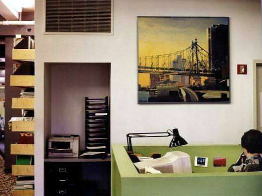 HARDY HOLZMAN PFEIFFER ARCHITECTS - This large architectural firm had just completed work on a retail project under the 59th Street Bridge and wanted to commemorate the completion of the job. We placed this vibrant fine art painting of the bridge and hung it outside Hugh Hardy's office.