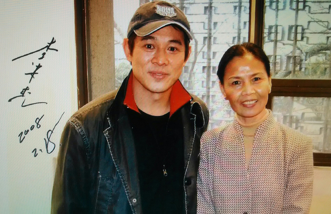 Grandmaster Cheng reunited with her former teammate Jet Li at Harvard University.