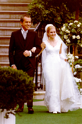 President Nixon and his daughter Tricia on her wedding day
