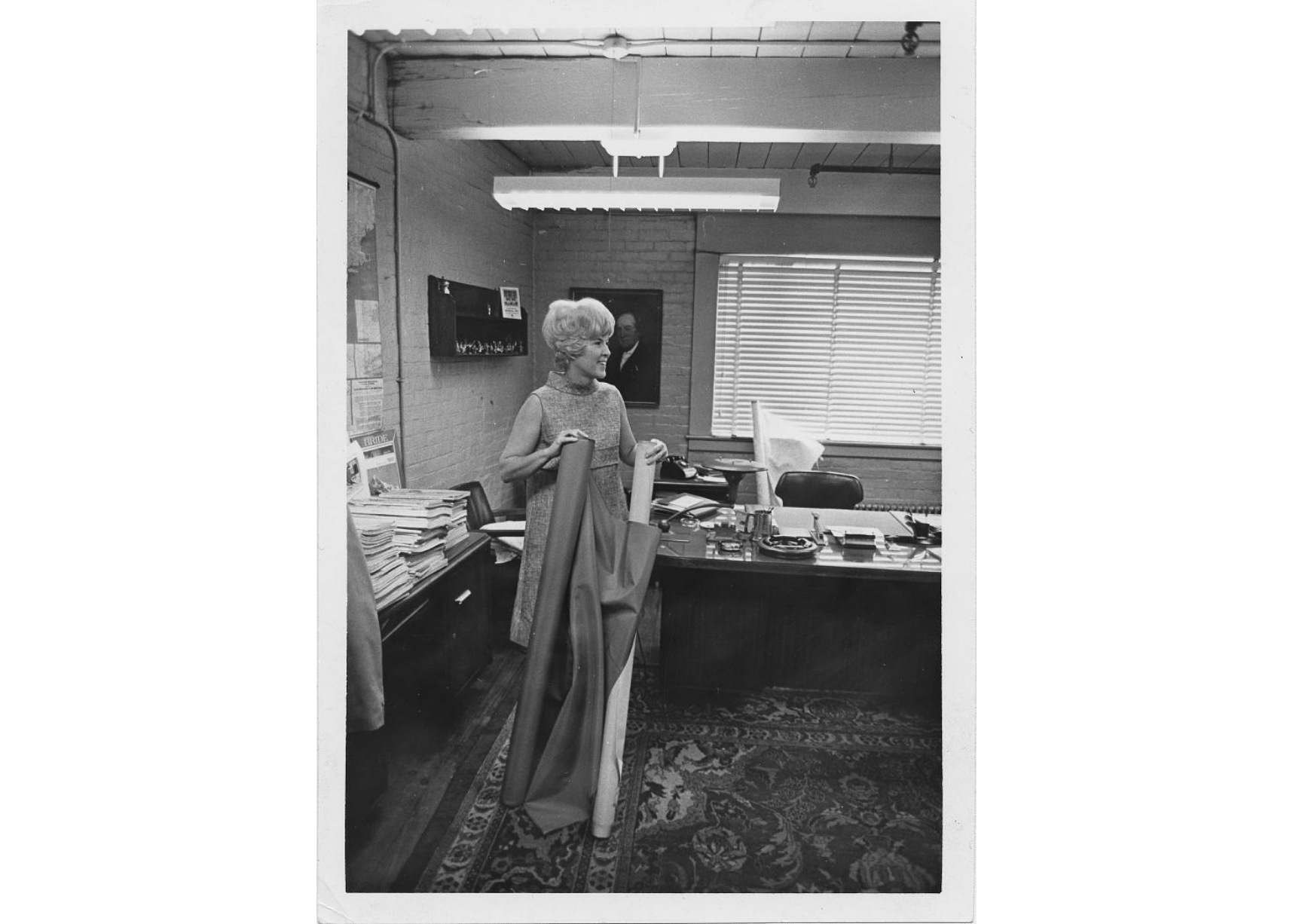 Priscilla Kidder at work in her studio, approx 1970