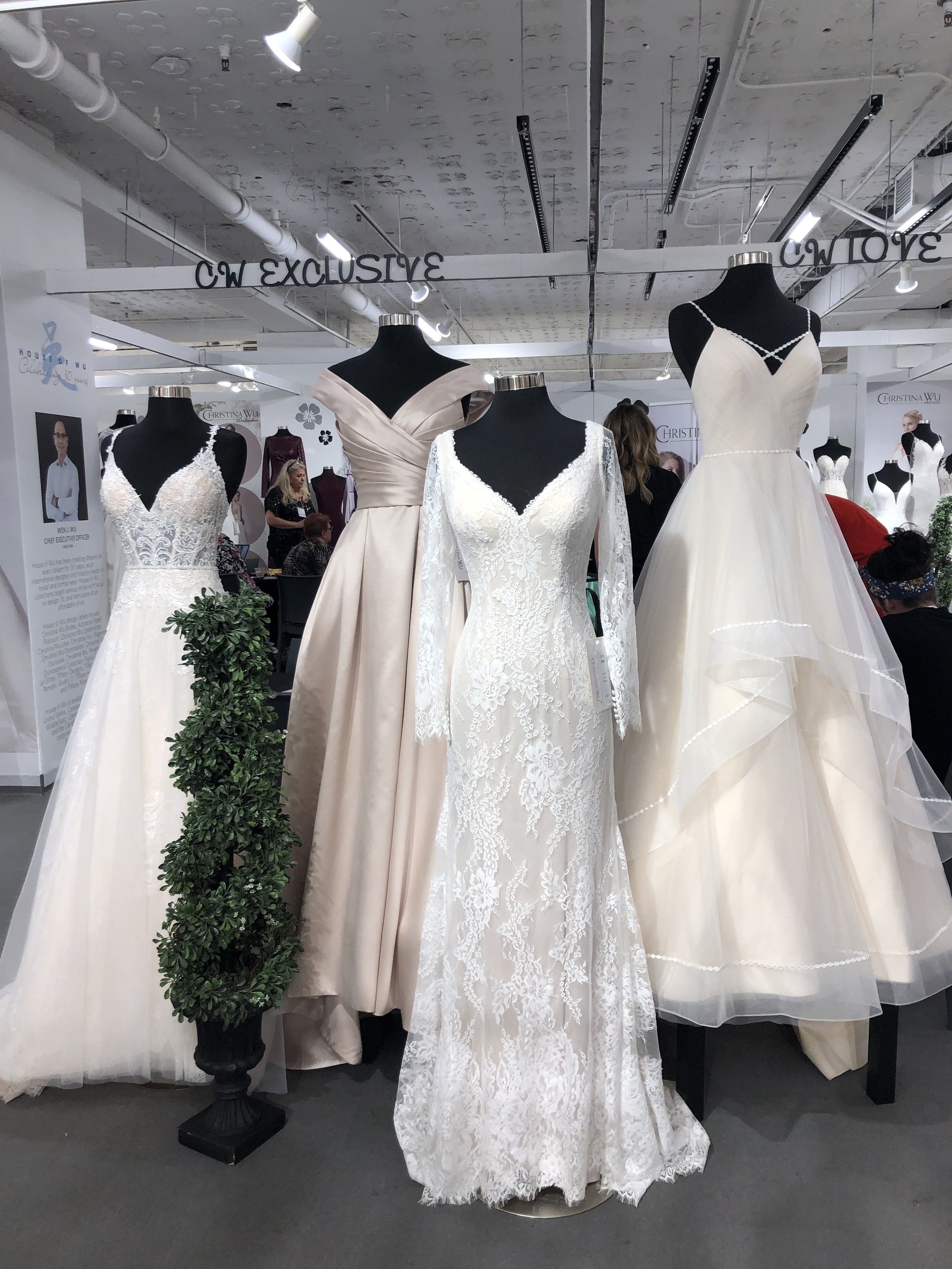 Something for everybride… - I think this display is really representative of everything that is happening in bridal fashion right now.Sheer bodices with visible bra cupsClassic shapes and fabricsLaceHorsehair trimStraps of all types