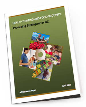 Healthy Eating And Food Security: Promising Strategies for BC    While we have only recently discovered this study, it was put together back in 2010. The paper outlines best and promising practices that can inform community action in the areas of food security and healthy eating in BC. The suggested actions are outlined in very clear sections and in ways that seem reasonable and manageable. There are also examples of initiatives around the province highlighted throughout.