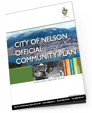 City of Nelson Official Community Plan    The City of Nelson's Official Community Plan (OCP) was developed as a key tool for the Council, staff, and citizens to use to make decisions about the things that matter to this community: land use, housing, social programs, transportation, infrastructure, culture, parks, and environmental protection. SEEDS refers to this document often as it informs how we structure proposals to the municipality as they relate to food security.