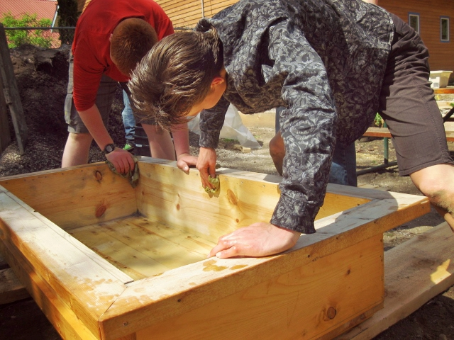 Youth Building Planter Boxes