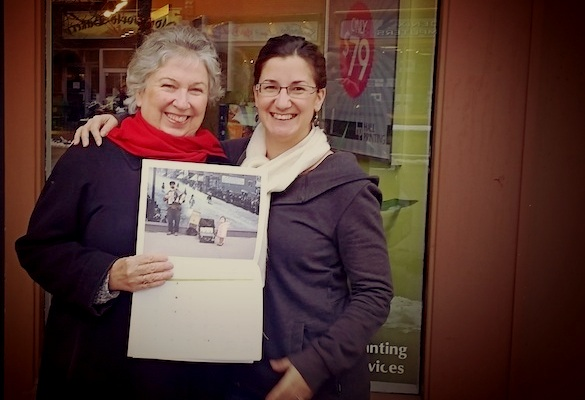 Dec. 11, 2015 - Tina Sheilds (left) and Eva Hernandez with Seeds' new calendar.