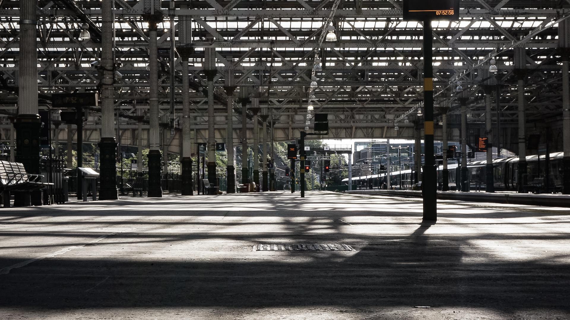 A long platform, deserted.