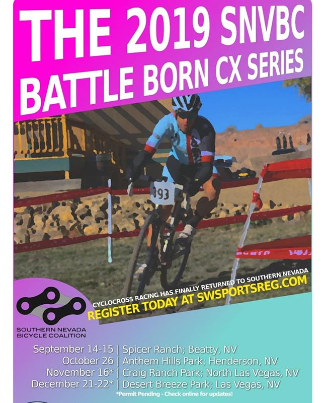 One week out! The 2019 Southern Nevada Bicycle Coalition Battleborn CX Series kicks off next weekend in Beatty with a double header at Spicer Ranch. Technical support provided by @procyclery's @jay_ray_vegas. Don't miss out on the first round of racing. Registration at SWSportsReg. Link in profile.  #battleborncx #snvbc #crossiscoming #cyclocross #teamhammersawcx #affiliatedpodiatry #carefaststorck