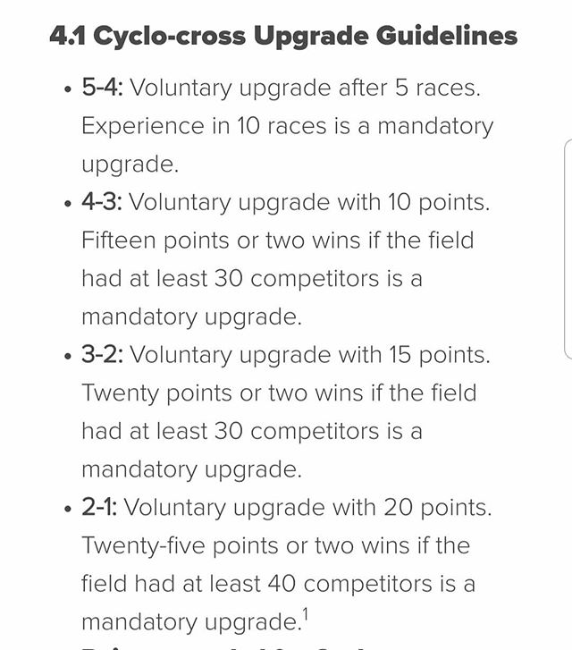 """Since we're going fullly @usacycling sanctioned this season with the SNVBC Battleborn CX Series, here are the cyclocross upgrade guidelines. Remember, 1-day licenses do not count towards upgrades and only cat 5s and juniors may purchase 1-day licenses on site. You may also buy an annual license on site. If you have had a USAC license in the past and are not a cat 5 racer and plan on racing, you need to purchase an """"advanced 1-day license,"""" which will allow you to compete in your rightful category. That had to be purchased from the USAC site directly. If you need to convert your road or mtb category to cyclocross, you need to submit for an upgrade via the USAC app or website.  #battleborncx #snvbc #carefaststorck #affiliatedpodiatry #cyclocross #crossiscoming #lvcx #usac"""