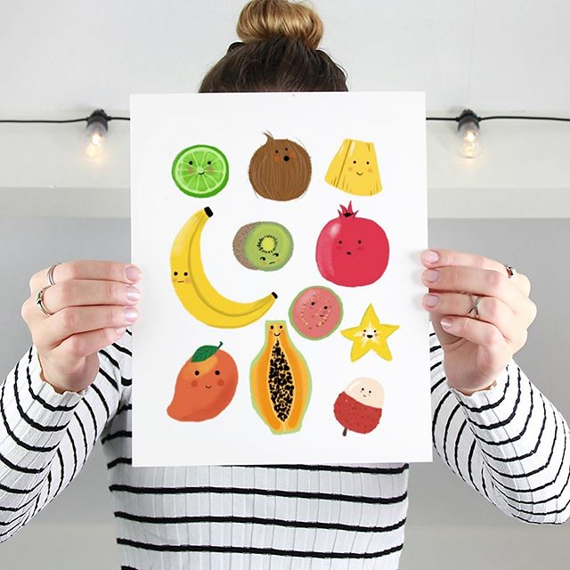 Created this tropical fruit print in preparation for #summerymarket2019! I was delighted to share the creation process with my sisters! We found so much joy in creating this and kept laughing during the whole process. #amandaholdendesigns