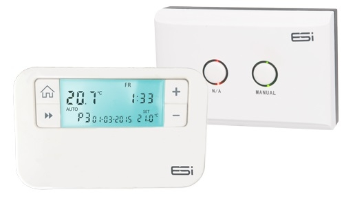 Boiler Plus Compliant RF Programmable Room Thermostat. The ESRTP4RF is a 7 day, 5/2 or 24 hour wireless programmable room thermostat. This removes the need for any fixed wiring between the thermostat and boiler reducing the installation time and eliminates the chance of damaging the aesthetics of the property, with no redecorating or making good required afterwards. The ESRTP4RF is one of the easiest to use on the market, providing 4 or 6 time and temperature events each day. The 7 day, 5/2 or 24 hour programming options meets most homeowners requirements. The ESRTP4RF comes pre-paired and has two-way RF communication at 868MHz.