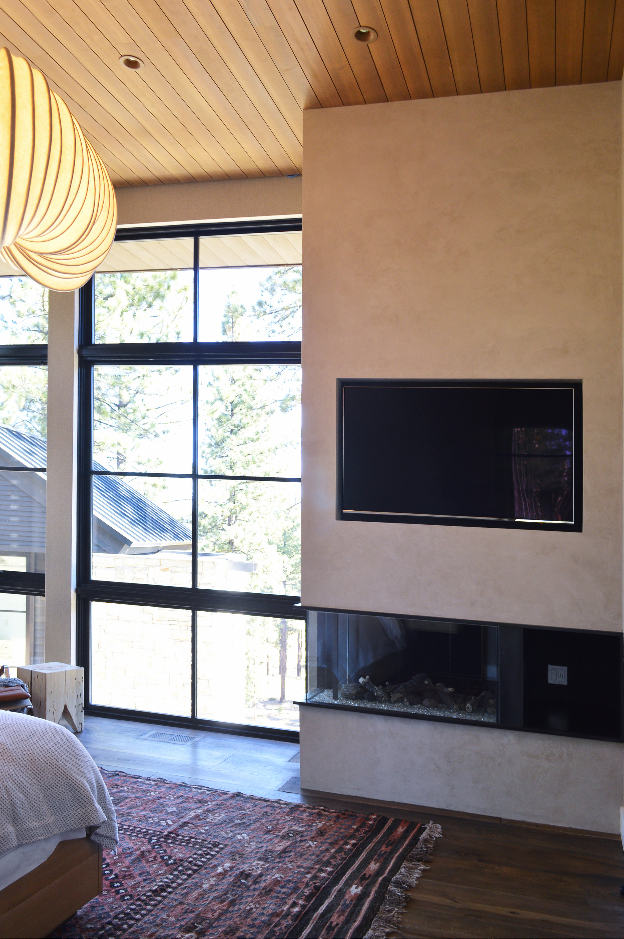 Microtopping Corner Fireplace