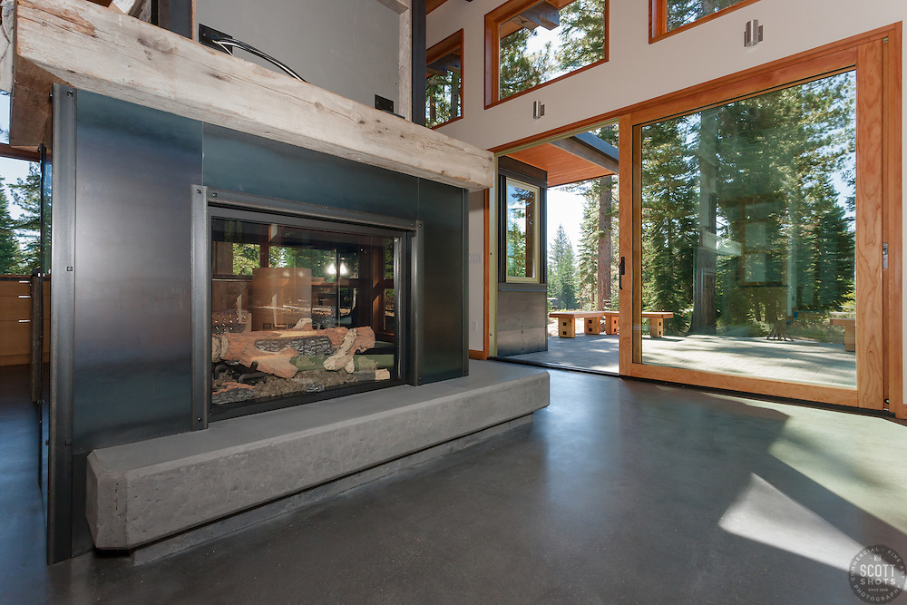 Living Room and Fireplace with Polished Concrete
