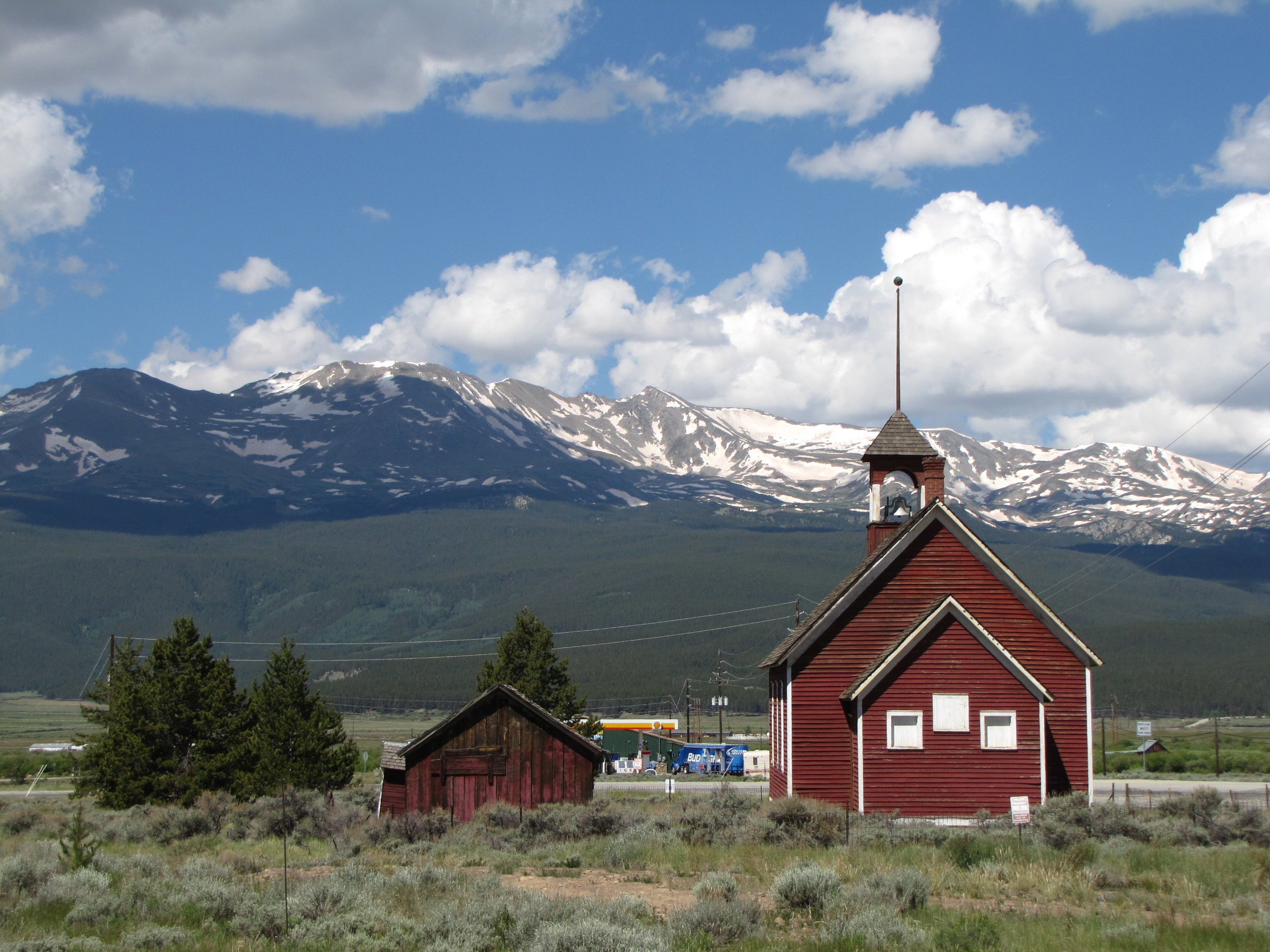 Chapel in front of Mt. Elbert