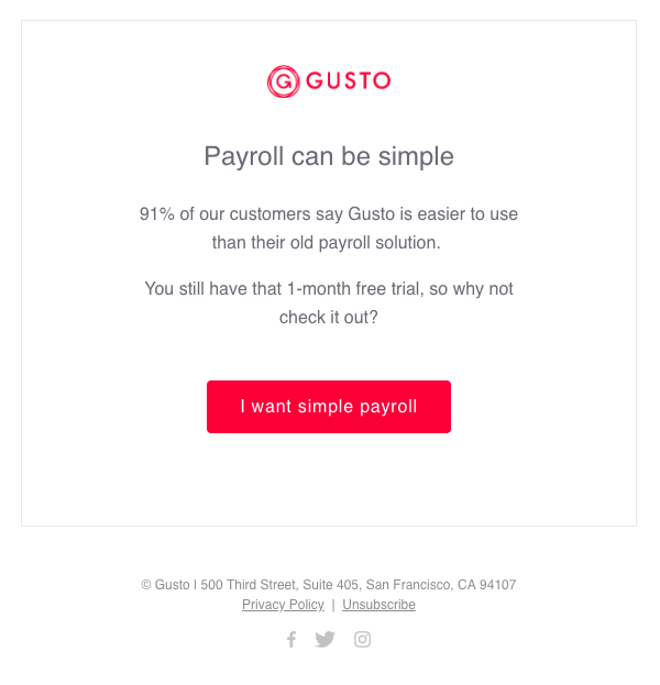 saas gusto email example