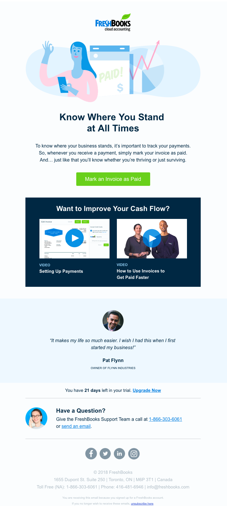 SaaS FreshBooks email example