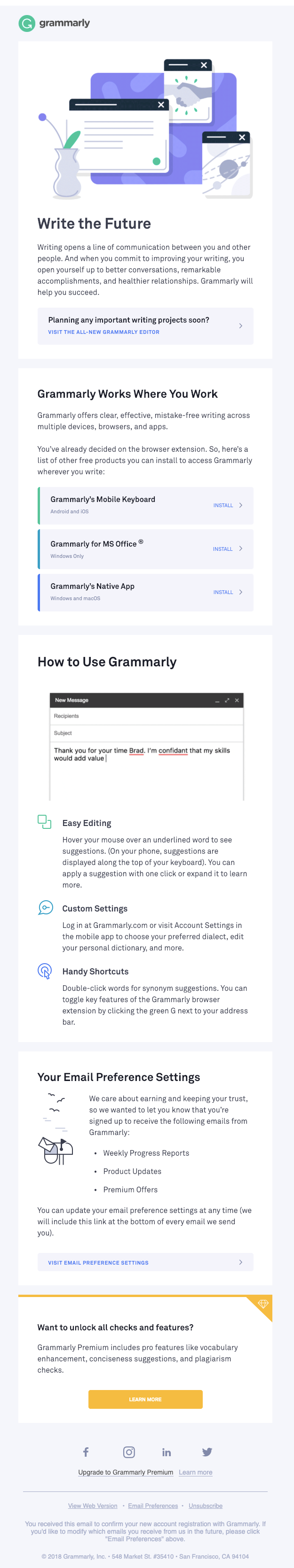 "Grammarly welcome email ""write the future"""