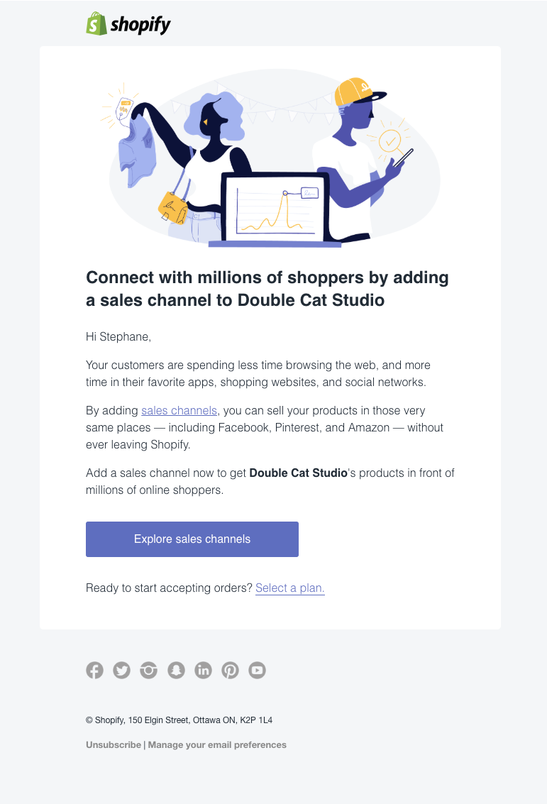 Shopify add a sales channel email