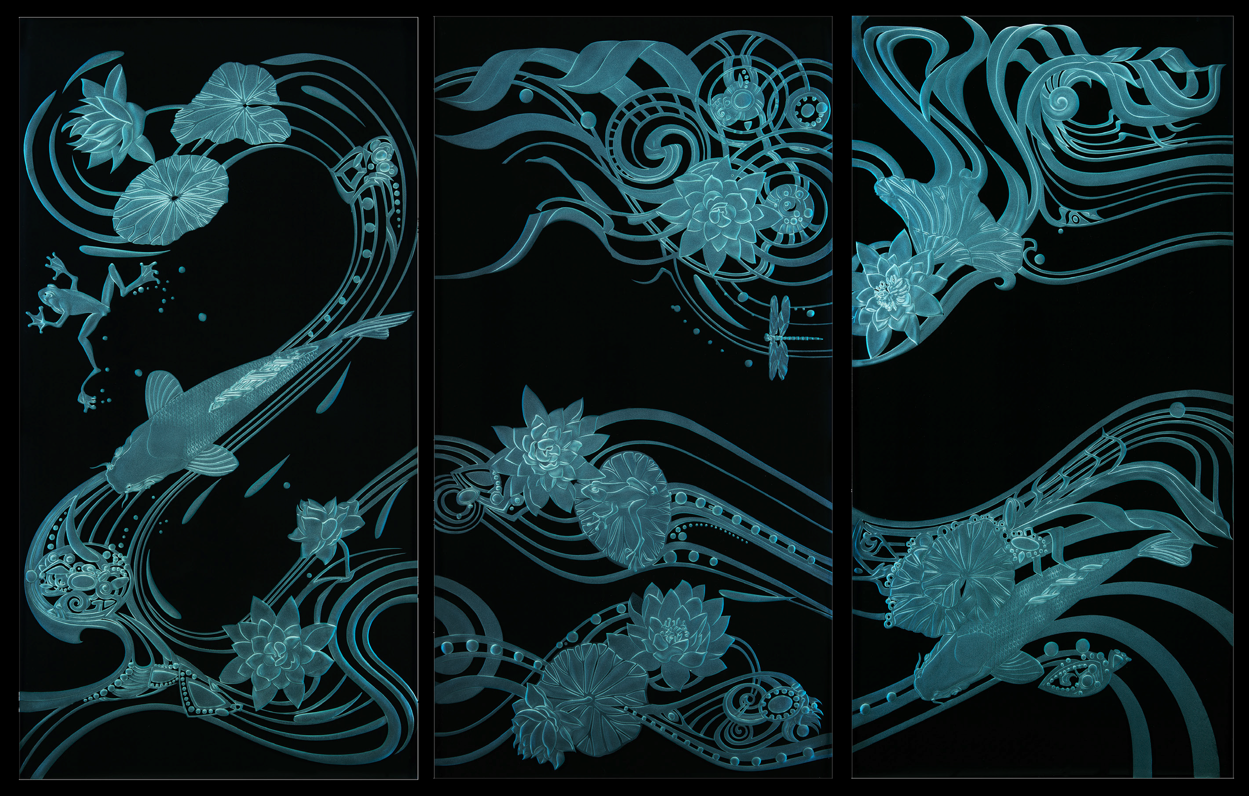 """triptych koi pond - Commission, 2007Dimensions: 24"""" x 38""""Three carved 3/4"""" glass panels, black background"""