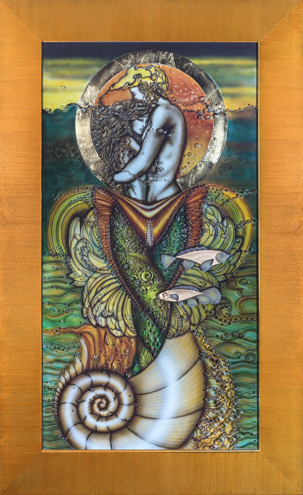 """lovers - Dimensions: 16"""" x 30""""Weight (Unframed): 15lbsMedium: 3/8"""" Glass, Gold Leaf, mixed mediaAbout the Art:A moment in time of two mermaids, in love. This iconic piece was created using unique paint-on glass techniques, detailed airbrushed liquid graphite, hand engraving, gold leaf, and sandblasting."""