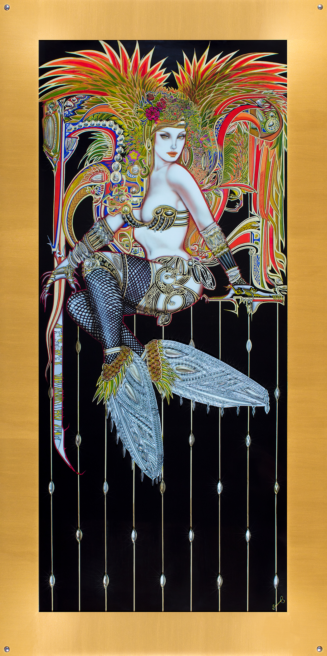 "firefly - Size: 43"" Wide x 86.5"" HighMaterials: Life Size Giclee Print, Original Carved Glass, Embellished with Mixed MediaAbout the Piece: Firefly is a burlesque fairy creature, whose form combines the seductive form of a temptress with unique insect-like elements and jewelry all accented by the carved glass in the front. The original image was created using paint, gold leaf, pen and ink, and airbrushed liquid graphite on glass."