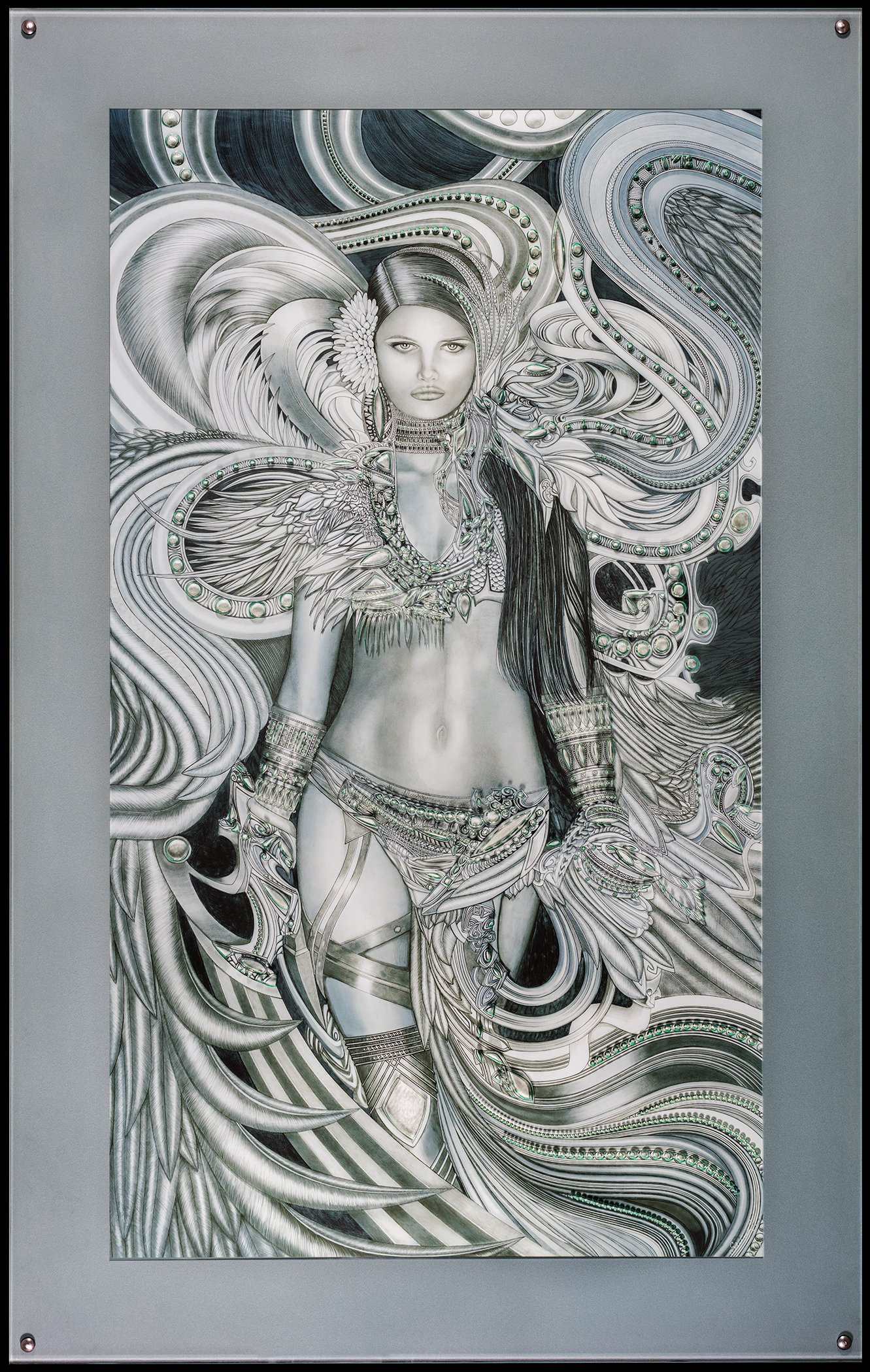 """catherine - Size: 43"""" Wide x 63"""" HighMaterials: Life Size Giclee Print, Original Carved Glass, Graphite, mixed mediaAbout the Piece: Catherine is a warrior angel, confident, unafraid, driving all darkness before her. Created by hand using graphite on Durolar."""