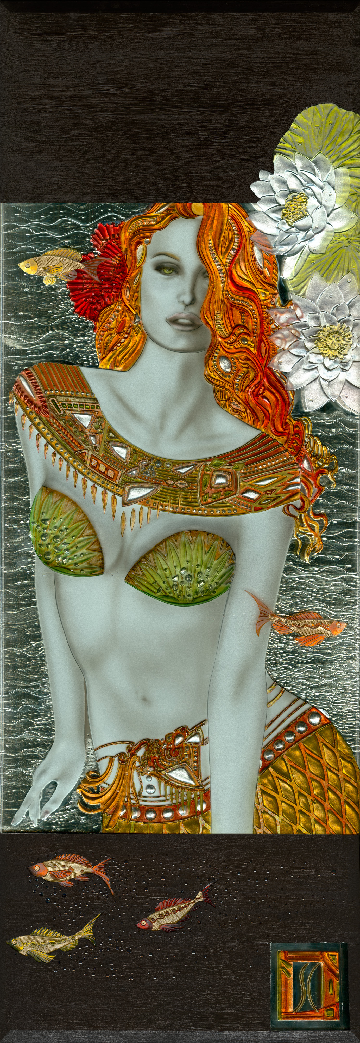 """malena - Dimensions: 36"""" x 74"""" (Framed)Carved 3/4"""" Glass, poured resins, gold leaf, mixed media, and custom framing."""