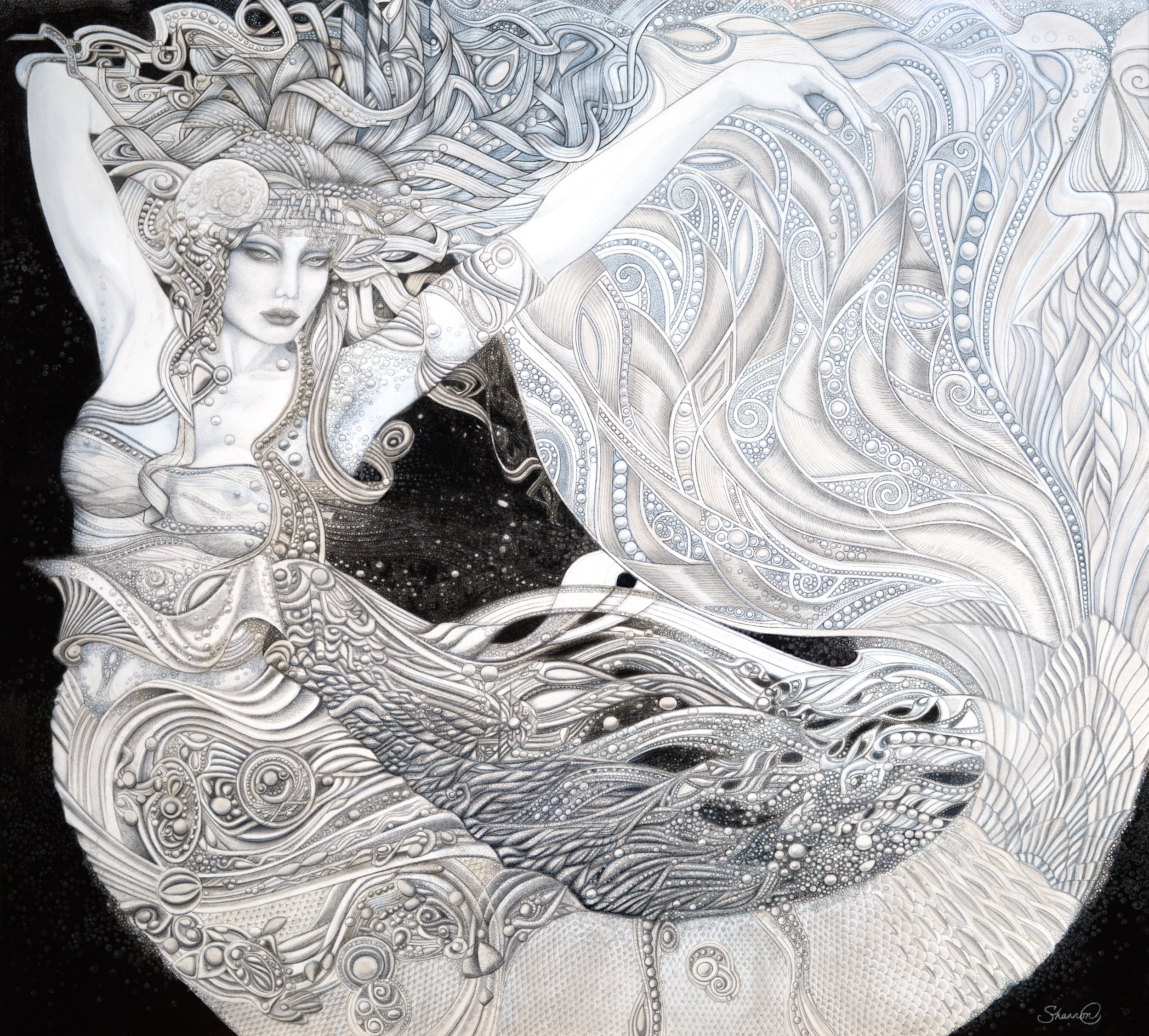 """lorelei - Dimensions: 53"""" x 47""""Carved 3/4"""" glassThe image here digitally combines the carved glass with the embellished hand print of the original glass work."""