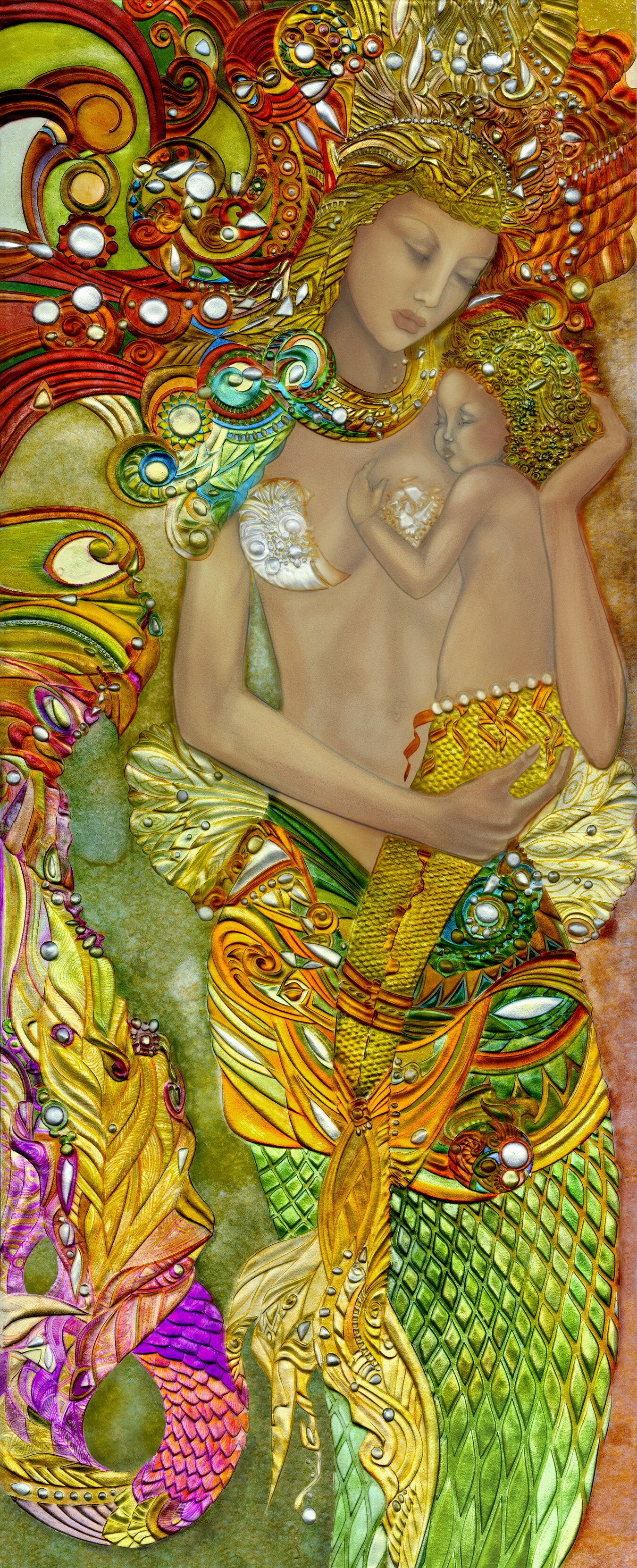 """cape verde - Size: 27"""" x 66""""Materials: 3/4"""" Thick Deep Carved Glass, Mixed MediaWeight (unframed): 75lbsAbout the Piece: A tender moment between a Mermaid mother and her child. The deep carving of the glass, combined with the color creates a three dimensional effect; moving, shifting, and changing with the evolution of a room's natural illumination, when experienced in person."""